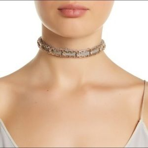 NWT Steve Madden Grey Gold Leather Lace Choker